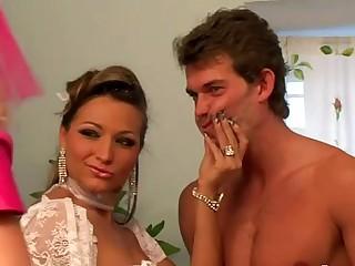 Femdom bridal party sissify