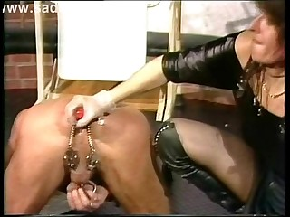 Dirty slave got a dildo up..