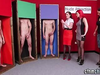 Heeled mistresses jerk off