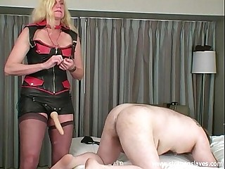 Strapon slave training by..