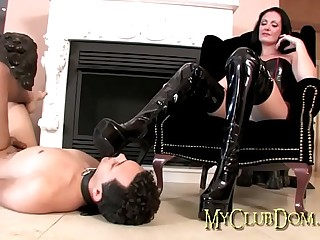 Mistress gets her boots..