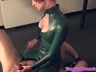 Mistress tramples pathetic sub