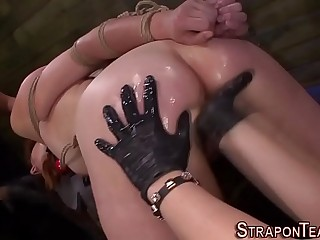 Evil mistress sub strapon