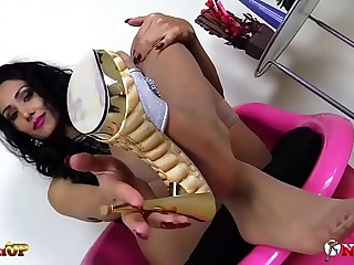 Mistress Alexya footjob with..