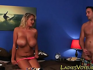 Busty mistress watches
