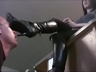 Slave licking Mistress boots..