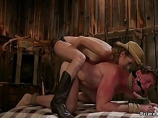 Sexy brunette rancher anal..