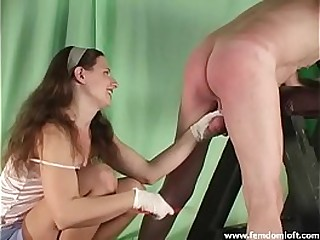 Ballbusting with flogger