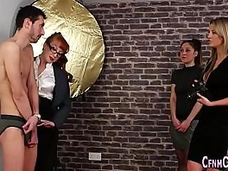 Clothed mistress cumshot
