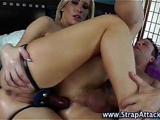 Hot cum licking strapon domina