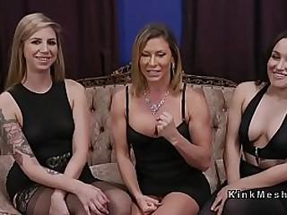 Threesome lezdom anal strap..