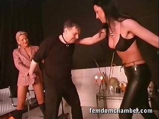 2 femdom in leather pants..