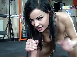 Dark haired femdom gives her..